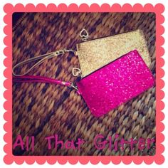 ☀️HOST PICK☀️Pink Glitter Wristlet BUNDLE & SAVE 30%   ONLY THE PINK ONE IS AVAILABLE! Magenta colored glitter on front and back.Zippers closed. LIKE-NEW condition!  GOLD ONE IS SOLD Bags Clutches & Wristlets