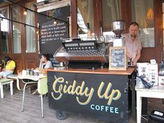 Came across this Giddy Up Coffee Cart! Love the Chalkboard frontage!