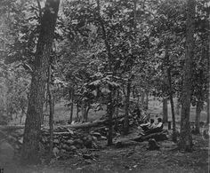 Federal breastworks in the woods on Culp's Hill during the Battle of Gettysburg, 1863.