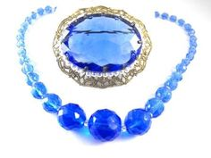 Big Blue Brooch & Necklace Vintage West Germany by hipcricket, $45.00