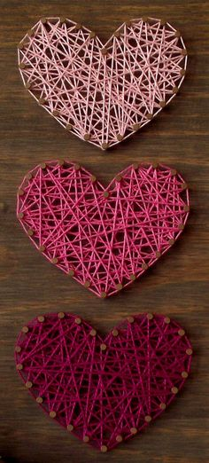 Mini Hearts String Art Sign Heart Sign Wooden von - My site String Art Diy, String Art Heart, String Art Templates, String Art Patterns, Doily Patterns, Diy Bracelets With String, Diy And Crafts, Arts And Crafts, Thread Art