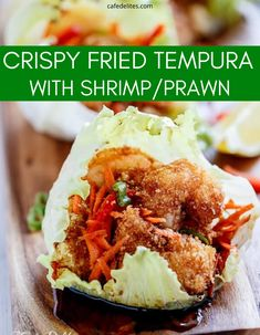 Crispy fried Tempura flavoured Shrimp/Prawns wrapped in a fresh and crisp lettuce leaf! Then the crispy fried tempura is then coated in a beautiful Teriyaki sauce. #tempura #fried #crispy #shrimp #lettuce #leaves #shrimp #prawn Seafood Pasta, Seafood Dinner, Seafood Recipes, Cooking Recipes, Prawn Shrimp, Shrimp Lettuce Wraps, Great Recipes, Dinner Recipes, Food Recipes