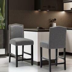 "Ophelia & Co. Winsted Solid Wood 28.3"" Bar Stool | Wayfair 24 Bar Stools, Counter Bar Stools, Island Chairs, Nailhead Trim, Dining Chairs, Dining Room, Solid Wood, Upholstery, Furniture"