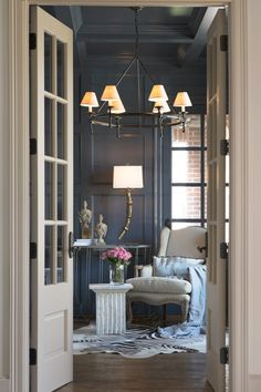 Interior french doors add a beautiful style and elegance to any room in your home. Navy Walls, Black Walls, Interior And Exterior, Interior Design, Interior Doors, My Living Room, Cottage Living, Decoration, French Doors