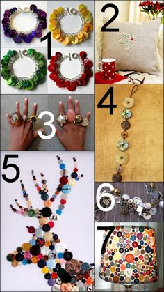 DIY Button Projects. Inspired to go into my well organized archive (by categories and tags) and quickly pull out a few. Thanks fairyshannon, I saw your comment for the easy button bracelet!      DIY Inspiration. Button Braceletsfrom Mrs. Gibson's Atelier here. *See Gypsy Button here for how to make link.    DIY Heart Button Pillow here.     DIY Button Statement Rings here.     DIY Easiest Cheapest Button Bracelet Ever here.     DIY Button Art Inspiration from Artist Vicky Cockell here…