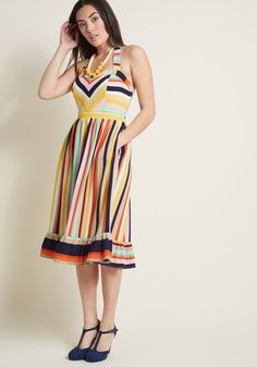 5a2f098d810 ModCloth Frequently Piquant Halter Dress STRIPE Rainbow Outfit
