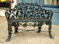 iron garden bench brookline village antiques antiques we love pinterest. Black Bedroom Furniture Sets. Home Design Ideas