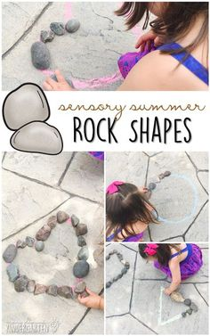 10 Ways to Play With Rocks {Sensory Summer} - Shapes! This is the perfect outdoor activity for summer tot school, preschool, or kindergarten! Tap the link to check out fidgets and sensory toys! Outdoor Activities For Toddlers, Nanny Activities, Summer Activities For Kids, Kindergarten Activities, Learning Activities, Kids Learning, Teaching Ideas, Shape Activities, Steam Learning