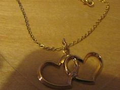 """New Listing Started new 18"""" goldtone chain necklace with two entwined hearts pendant with stone £1.25"""