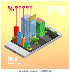 flat 3d isometric mobile navigation illustration. Icon illustration for map. Design template for building and business.