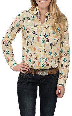 ae7d0ff118 Wrangler Women s Ivory Cactus Print Long Sleeve Western Snap Shirt