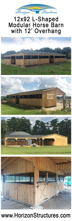 L-Shaped modular horse barn.  Enter zip code 70791 on our Barn Finder Map page to see more pictures and a floor plan
