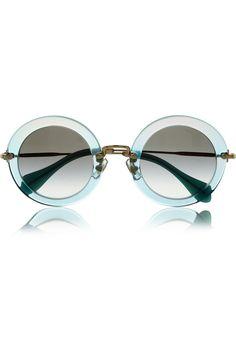Miu Miu Glitter-finish acetate and metal teashade sunglasses NET-A-PORTER.COM