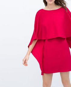 Inshop 2015 summer style solid dress batwing sleeve o neck nimi sexy club women half sleeve plus size red dress Plus Size Red Dress, Vestidos Zara, Capes For Women, Cold Weather Fashion, Cape Dress, Dress Cuts, Zara Dresses, Couture, Buy Dress