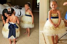 How cute! Navy and gold flower girl dresses.