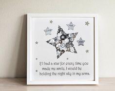 New Baby Gift Nursery Wall Art Star von CraftyLittleMonkey14