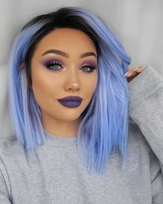 How do I get purple hair for this Wie bekomme ich lila Haare für diese Saison? How do I get purple hair for this season? Hair Color Blue, Hair Dye Colors, Cool Hair Color, Periwinkle Hair, Pastel Purple, Light Blue Hair, Pastel Hair, Crazy Hair Colour, Icy Blue Hair