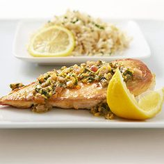 Lemon-Walnut Chicken - I think I'll stuff with spinach and feta too. I didn't have walnuts so used sliced almonds. I seared then in coconut oil and didn't use flour. It was yummy.