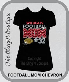 This sparkly Football Mom shirt was designed by The BlingN Boutique and is made with high quality rhinestones and glitter vinyl. The design can