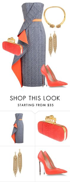 """""""Coral X 2"""" by andreaaitken ❤ liked on Polyvore featuring Roksanda Ilincic, Alexander McQueen, Capwell + Co, Casadei and Roberto Cavalli"""