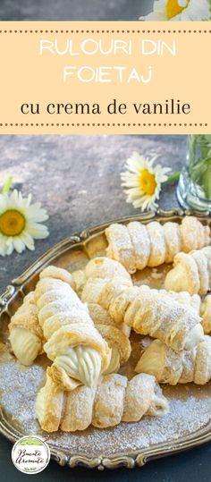 Rețeta simplă pentru rulouri din foietaj cu cremă de vanilie. Un desert extraordinar de gustos și de aspectuos. Fă-le și tu! :) #bucatearomate #desert #prajituri #cremadevanilie #rulouri #rulouricuvanilie #foietaj