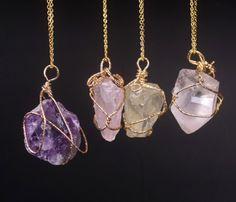 Healing Crystal Necklace - Gold Wrap (Bundle)