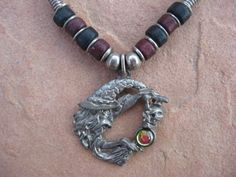 Black Leather Necklace Pewter Wizard with a by buffalorunjewelry