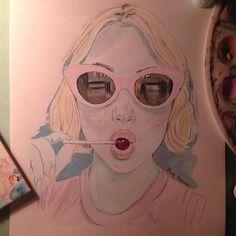 @pinkandtonic Daisy  #illustration #watercolor #acuarela #pinkglasses #chupachups #candy #blonde #pink #rosa #painting #drawing #dibujo #ilustracion #acrylic #ladygreen #lolita #ninfula #pinkandtonic #portrait #retrato #inspiration #lollipop #pinksunglasses #retro #naif