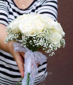 Bukiet ślubny białe róże i gipsówka opolskie #wedding #Brautstrauß #whiteroses www.dekofloris.com