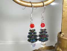Christmas Crystal Tree Vitrail Red Green Earrings Made With Swarovski Elements