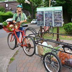 West End Food Co-op Bike Trailer by Emily Van Halem Bike Cargo Trailer, Cargo Trailers, Trailer Tent, Hauling Trailers, Bike Motor, Bike Cart, Velo Cargo, Bicycle Maintenance, Cool Bike Accessories