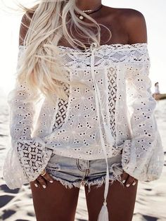 Stylish Off Shoulder Lace Casual Blouse