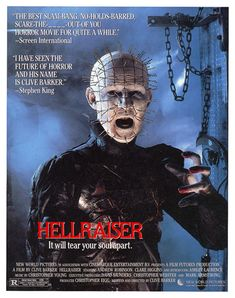Hellraiser (Escrita y dirigida por Clive Barker Horror Movie Posters, Cinema Posters, Film Noir Photography, Terror Movies, Christian Movies, Movie Covers, Vintage Horror, Classic Films, Great Movies