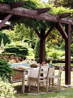 Wooden arbor above a outdoor dining table to provide shade, so pretty!
