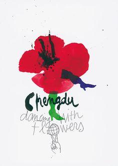 Affiche pour le festival des fleurs dans la ville de Chengdu, Chine.  By Atelier de Creation Graphique. Pierre Bernard