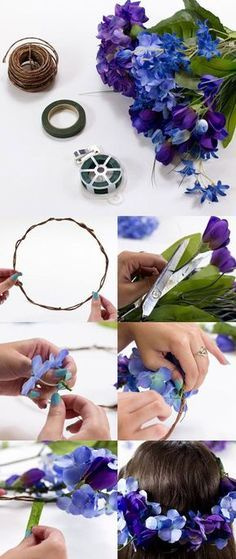 Easy DIY Flower Crown Tutorial Easy Flower Crafts That Anyone Can Do Arts and crafts can be innovati Flower Crown Tutorial, Diy Flower Crown, Diy Crown, Flower Wall, Flower Crafts, Diy Flowers, Blue Flowers, Floral Crown Wedding, Floral Crowns