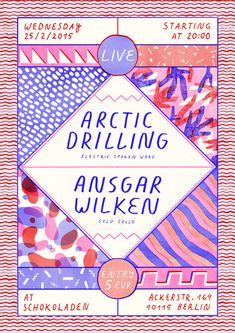Poster for Arctic Drilling and Ansgar Wilken's upcoming concert at Schokoladen. American Illustration, Simple Illustration, Its Nice That, Be A Nice Human, Cover Design, Design Art, Graphic Design, Ted Speakers, How To Defend Yourself