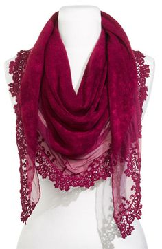 Berry colored knit scarf w/ floral lace and sheer chiffon panels