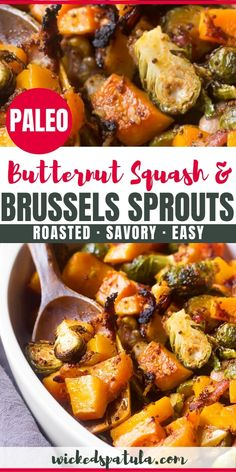 See how to roast butternut squash and brussels sprouts perfectly - great for fall and holiday tables! My roasted brussels sprouts and butternut squash recipe is sweet, savory, and healthy. Paleo Recipes Easy, Bacon Recipes, Veggie Recipes, Vegetarian Recipes, Slaw Recipes, Roasted Sprouts, Sprouts With Bacon, Roasted Squash, Paleo Butternut Squash