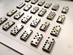 Two (2) Antique Bone and Ebony Dominoes - Craft Supplies, Altered Art, Mini Sculpture, Assemblage Jewellery