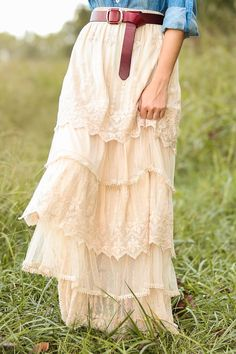 ╰☆╮Boho chic bohemian boho style hippy hippie chic bohème vibe gypsy fashion indie folk the 70s . ╰☆╮ Graced With Love Maxi Skirt-Wheat
