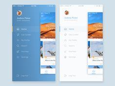 Side menu dark or light? by Kristijan Binski Web Design, App Ui Design, Interface Design, User Interface, Layout Design, App Design Inspiration, Work Inspiration, Ux Design Principles, Travel Website Design