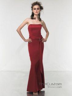 Sheath Strapless Ankle-length Satin Bridesmaid Dresses 114MT8770