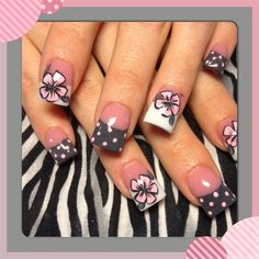 Pink & Grey Nails Polka Dot French Tips with floral / Flowers Free-Hand nail art