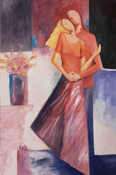 couple in love painting modern art - Google Search Painting Love Couple, Couple Art, Bedroom Paintings, Oil Paintings, Couples In Love, Art Google, Modern Art, Aurora Sleeping Beauty, Wall Art