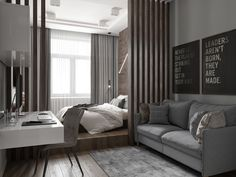 Small Studio Apartment Design, Studio Apartment Layout, Small Apartment Interior, Small House Interior Design, Studio Apartment Decorating, Home Room Design, Living Room And Bedroom Combo, Small Room Bedroom, Home Bedroom