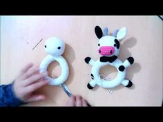 amigurumi rattle red nosed cow rattle unite pieces of . Crochet Baby Toys, Newborn Crochet, Crochet Bunny, Crochet For Kids, Crochet Dolls, Baby Knitting, Crochet Bear Patterns, Amigurumi Patterns, Baby Patterns