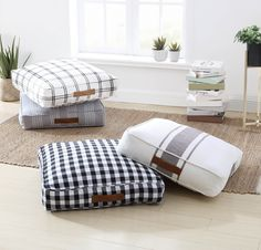 Better Homes & Gardens Yarn Dyed Floor Cushion, White & Black Plaid Kids Floor Cushions, Square Floor Pillows, Bench Cushions, Floor Cushion Couch, Outdoor Floor Cushions, Oversized Floor Pillows, Large Floor Pillows, Living Room Flooring, Diy Flooring