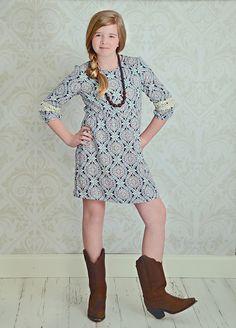 Crochet Sleeve Shift Dress- Tween Style
