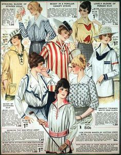 Blouses & Middies, Eaton's Spring & Summer Catalog, 1917. #vintage #Edwardian #fashion